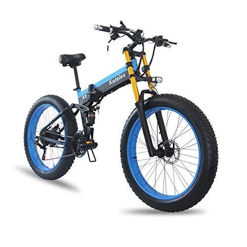 """Bici Elettrica 1000w 48v 15ah Mountain Bike Elettrica Fat Tire Snow Bike 26""""4.0 Tire E-bike Shimano 21 Velocità Gear Forcella Ammortizzata (blu)"""