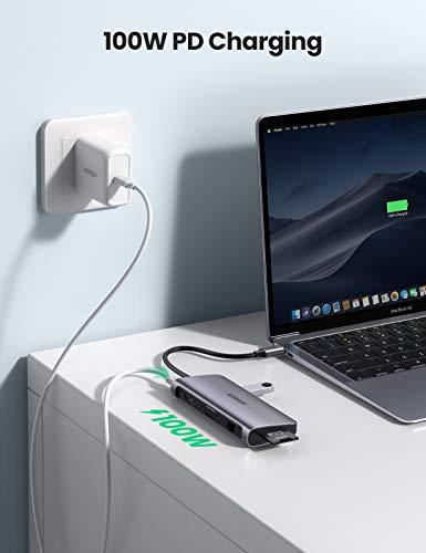 UGREEN USB C Hub 9 in 1 USB C Docking Station ausgestattet mit 2 Videoausgänge 4K HDMI Adapter und VGA Adapter, Gigabit Ethernet, USB 3.0 Hub, 100W Power Delivery, SD TF Kartenleser