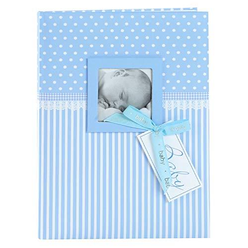 goldbuch 11802 Babytagebuch mit Fensterausschnitt, Sweetheart, 21 x 28 cm, Tagebuch für Neugeborene, Baby Erinnerungsalbum mit 44 illustrierte Seiten, Einband mit Kunstdruck, Album in Blau