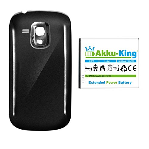 Akku-King Power-Akku kompatibel mit Samsung EB-F1M7FLU - Li-Ion 3000mAh - Akkudeckel schwarz - für Galaxy S3 Mini, S III Mini, GT-I8190, GT-I8200N