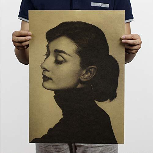 Aymsm Vintage Paper Retro Classic Movie Poster - Breakfast at Tiffany póster Vintage Audrey Hepburn Cuadros de Arte de Pared 51 * 35.5cm sin Marco