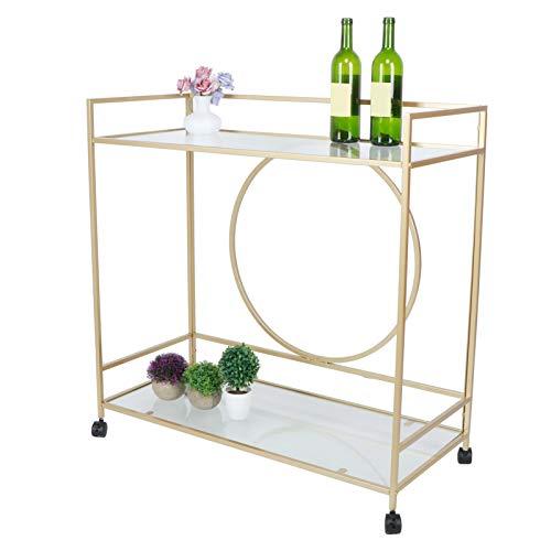 Greensen - Carrito de bar con 2 estantes en espejo, carrito de cocina con ruedas, carrito de cocina, carro de barra de superficie, color dorado vintage
