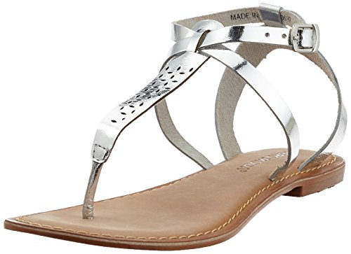 VERO MODA Damen VMANNELI Leather Sandal Riemchensandalen, Grau (Silver), 39 EU