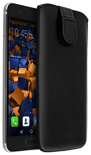 mumbi Echt Ledertasche kompatibel mit Huawei P10 Hülle Leder Tasche Hülle Wallet, schwarz
