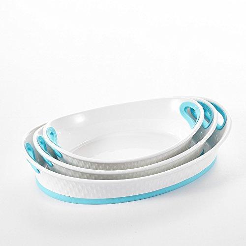 "Malacasa, Series Bake, 3pcs Porcelain Bakeware Pans, 12"" & 13.5"" & 15.5"" (47.5oz & 65oz & 92oz) Ivory White Serving Dishes Baking Plates Set, Blue"