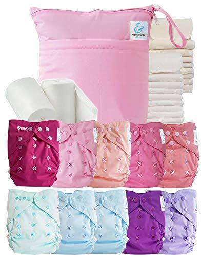 Maman et bb Nature - Pack complet : lot de 10 couches lavables TE2 + inserts + voiles + sac imperméable - tons roses
