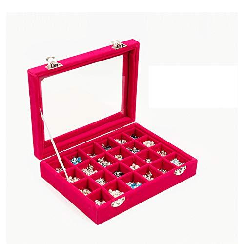 Joyero caja de exhibición de joyero grande, soporte de exhibición de anillo de joyería de vidrio de franela de rejilla de caja de almacenamiento con cubierta de vidrio transparente, utilizado para almacenar bandejas de aretes de anillo y accesorios de uñas