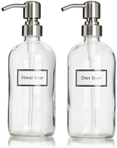 Artanis Home Ceramic Printed Glass Dish Soap and Hand Soap Dispenser Set with Stainless Steel product image