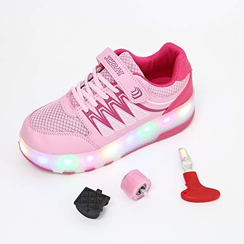 Zapatillas Deportivas LED para Niños Unisex Niños Niñas LED Luz Flash Zapatos de Roller USB Recargable Patines Deportes Parpadeantes de Roller Ajustable Moda Gimnasia Zapatos de Skateboard Calzado