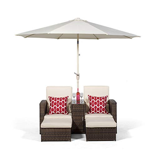 Giardino Nevada Double Reclining Brown Rattan Sun Loungers Set | 2 Seater Sofa Lounge Chair Recliners | Fully Assembled Patio & Conservatory Poly Rattan Garden Furniture with Parasol & Outdoor Cover
