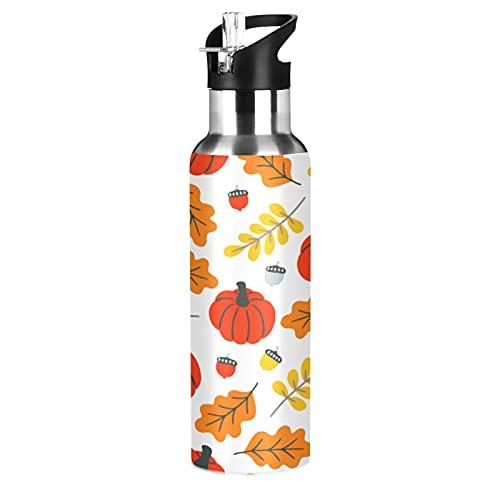 COZYhome - Borraccia con cannuccia, 600 ml, a tenuta stagna, per autunno e autunno, con foglie di zucche e foglie isolate sottovuoto, per ragazzi e ragazze, adulti, sport all'aria aperta