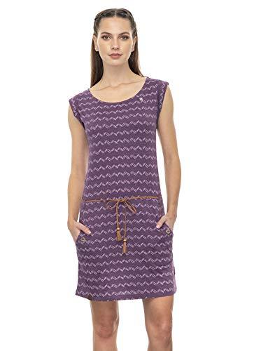 Ragwear Tag Zig ZAG Damen,Kleid,Sommerkleid,Jerseykleid,ärmellos,vegan,Rundhalsausschnitt,Taillengürtel,Taschen,Purple Red,L