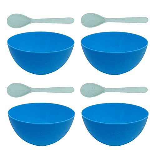 Plastic Bowls with Spoon (Set of 4) - Plastic Cereal Bowls, Smoothie Bowls, Acai Bowls, Buddha Bowls, Vegan Bowls