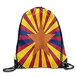 Etryrt Mochilas/Bolsas de Gimnasia,Bolsas de Cuerdas, Drawstring Backpack Arizona Flag Personalized Gym Drawstring Bags Travel Backpack Tote School Rucksack