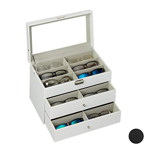 Relaxdays Brillenbox 18 Brillen, Aufbewahrung Sonnenbrillen, HBT: 22,5 x 33,5 x 19 cm, Kunstleder Brillenkoffer, weiß