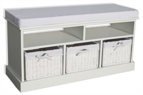 KMH®, Sitzbank im Rattan-Look mit 3 Körben aus weissem Geflecht (#204601)