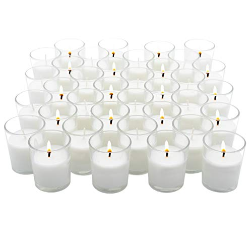 Royal Imports Unscented Clear Glass Votive Candles, Long 15 Hour Burn Time, for Home, Spa, Wedding, Birthday, Holiday, Restaurant, Party, Birthday, 36 Pack