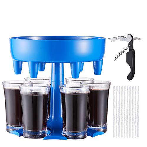 LAIWOO 6 Shot Glass Dispenser and Holder,Shot Dispenser,Shot Buddy Dispenser Pourer,Cocktail Dispenser,Drink Dispenser Plastic with All-in-one Waiters Corkscrew and Pipe Cleaners for Parties (Blue)