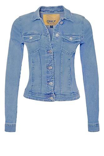 Only - Giacca leggera di jeans/denim da donna Ge Lesta, mezza stagione, stile casual Mix blu chiaro S