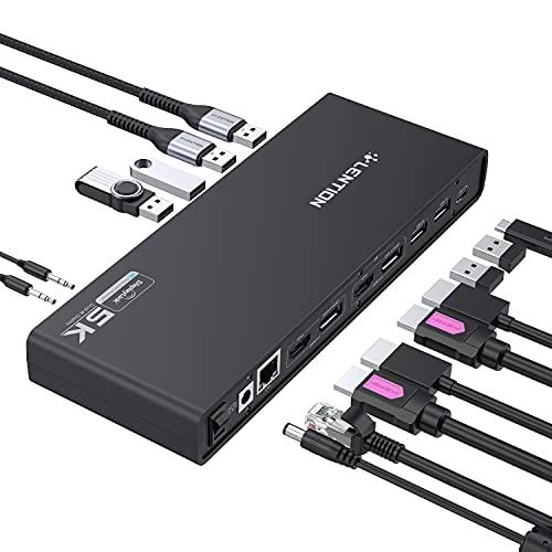 LENTION 5K USB C & USB A Docking Station with Dual HDMI & DisplayPort 4K 60Hz Displays, Gigabit Ethernet, Audio&Mic Adapter, 6 USB 3.0 for MacBook Pro/Air, Mac Air/Surface Laptop, More (CB-D92, Black)