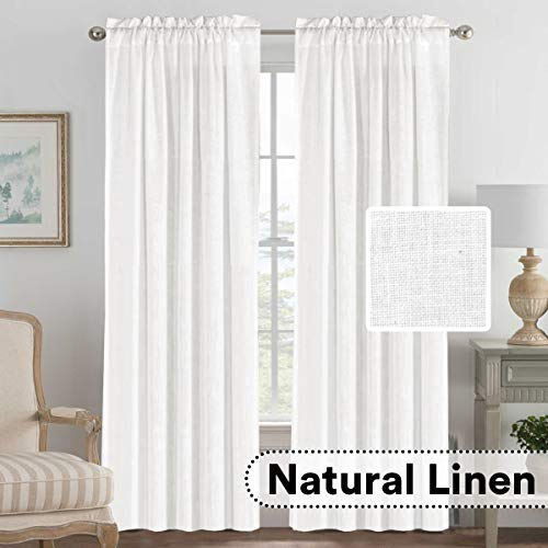 H.VERSAILTEX Light Filtering Linen Textured Curtains Window Treatment Privacy Added Draperies/Drapes/Panels/Treatment, Rod Pocket, Natural & Durable (2 Pack, 52 by 84 Inch, Off White)