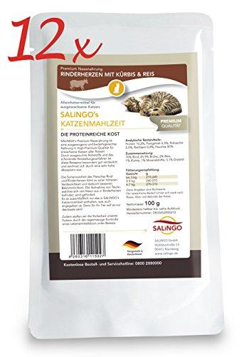SALiNGO Katzenfutter nass, Rinderherzen mit Kürbis und Reis (12x100g)