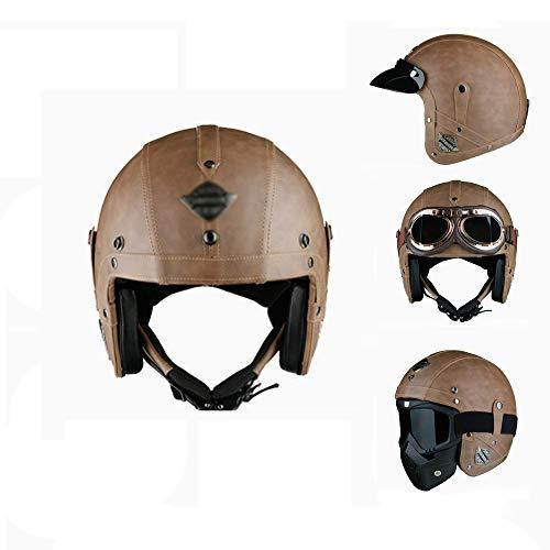 CX ECO Vintage halbe Helme 3/4 Open Face Motorradhelm Old School Chopper Motocross Leichter Harley Lederhelm,Brown,M