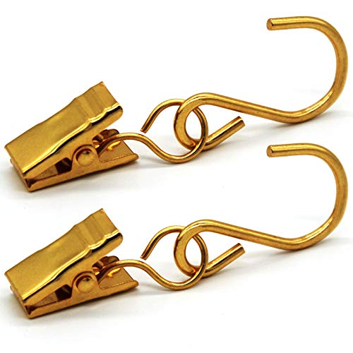 METLUCK Stainless Steel S Hooks Curtain Clips, 50pcs Hanging Party Lights Clips Hanger Gutter Hooks for Camp Tent Photo Display Indoor and Outdoor Decoration Christmas Party Decor Supplies, Gold