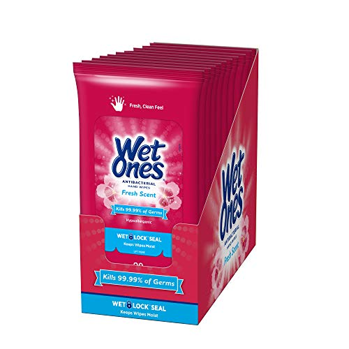 Wet Ones Antibacterial Hand Wipes, Fresh Scent, 20 Count...