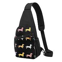 ダックスファンド かわいい 犬 ボディバッグ 斜めがけバッグ 男女兼用 チェストバッグ ショルダーバッグ 肩掛けバッグ 軽量 通勤通学 大容量 旅行 IPadmini収納可能