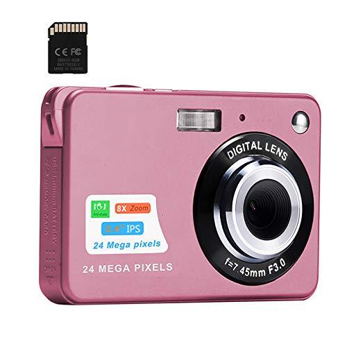 Digitalkamera, 2,4-Zoll-FHD-Taschenkameras Wiederaufladbare 24-Megapixel-Kamera für Rucksacktouren mit 8-Fach Digitalzoom-Kompaktkameras für Fotografie 32-GB-SD-Karte enthalten