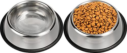 Taglory Ciotole per Cani in Acciaio Inox, Ciotola Acqua e Cibo Cane con Base in Gomma Antiscivolo (2 Pacchi, 500ml, 3mm)