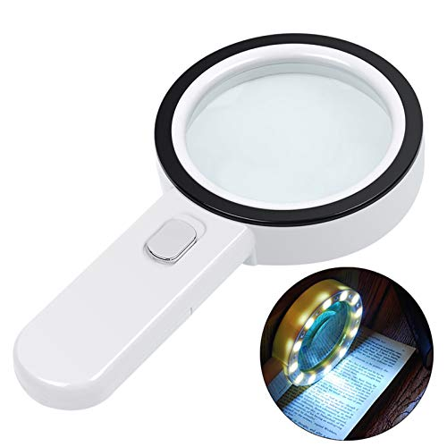 Magnifying Glass with Light, 30X Illuminated Large Magnifier Handheld 12 LED Lighted Magnifying Glass for Seniors Reading, Soldering, Coins, Jewelry, Macular Degeneration(Silver)