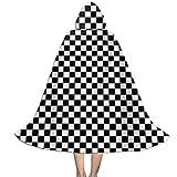 Fasenix Checkerboard-Black & White Kids Hooded Cloak Cute Graphic Christmas Halloween Cosplay Costume Cape