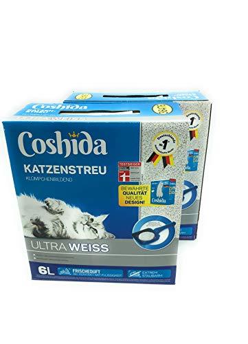 12 Liter **2 Packungen** Katzenstreu Klumpstreu Coshida ultra weiss mit DUFT
