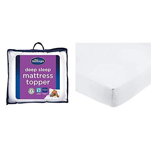 Silentnight Deep Sleep Mattress Topper, White, Super-King & AmazonBasics Microfibre Fitted Sheet, Super King, Bright