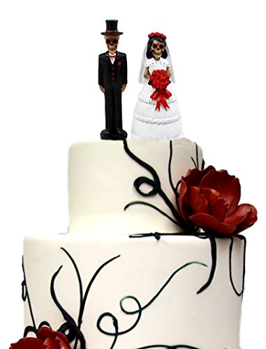 Ebros Gift Day of The Dead Wedding Skeleton Bride & Groom with Rose Bouquet Figurine Cake Toppers 4.5' H Love Never Dies Wedding Ceremony Skeleton Lovers Statues