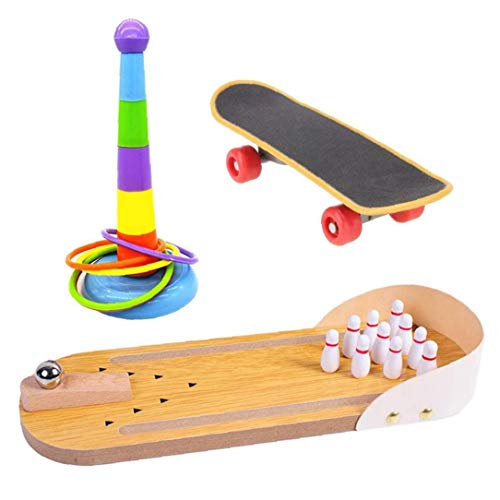 Parrot Toy Bird Training Toy Set Mini Desktop Bowling Rings Skateboard Stand Intelligence Toy for Pet 3PCS