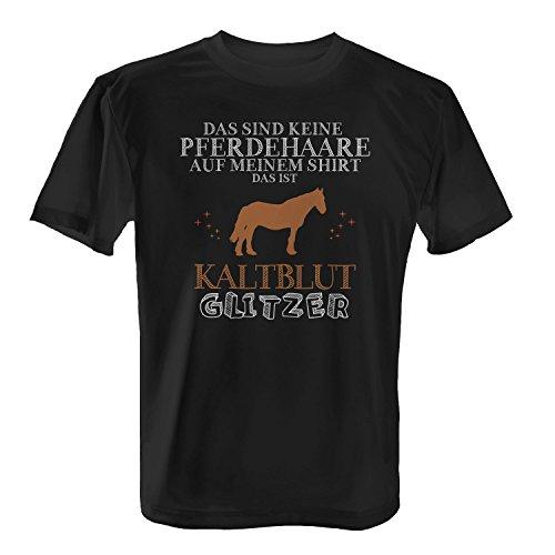 Fashionalarm Herren T-Shirt - Das sind Keine Pferdehaare - Kaltblut Glitzer | Fun Shirt Spruch lustige Geschenk Idee Rasse Pferd Reiten Reitsport, Farbe:schwarz;Größe:XL