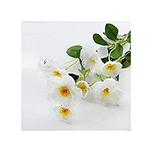 Misscany 1 Branch 6 Colors DIY Artificial Flowers Rosemary Two Silk Flower Fake Plant for Wedding Home Party Decoration,White