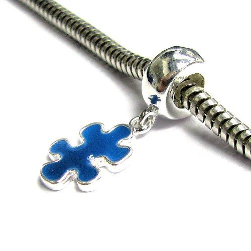 Plata de ley 925 Autismo Conciencia Jigsaw Puzzle Juego Pieza Azul Esmalte Cuelga Cuenta Para Pulseras Europeas