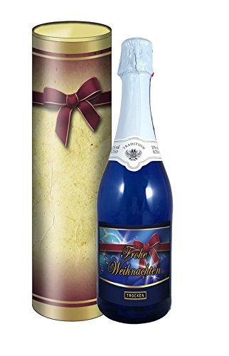 Frohe Weihnachten 0,75l Sekt (Mosel) blaue Flasche in der Geschenkdose im Schleifendesign