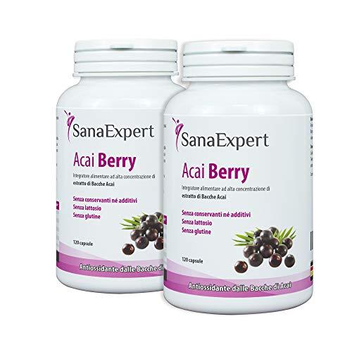 SanaExpert Acai Berry, integratore alimentare con estratto di bacche di açaí puro e antiossidanti, vegano, senza additivi e prodotto in Germania, 120 capsule. PACK 2.