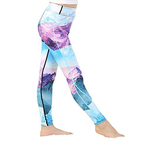 Yying Mädchen Yoga Hosen bodybuildende Bequeme Jugend Gamaschen Forest Flower Blumenkinder dünne Sport Hosen 97005 L