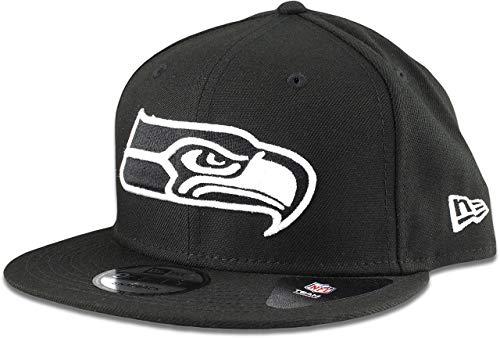 New Era Seattle Seahawks Mütze NFL schwarz weiß 9FIFTY Snapback verstellbar Cap Erwachsene Einheitsgröße
