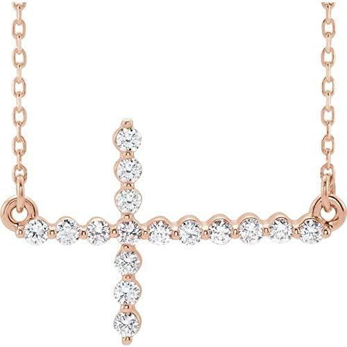 14K Rose Gold 1 Spasm price 3 CTW Necklace Sideways wholesale Acc Cross 16-18
