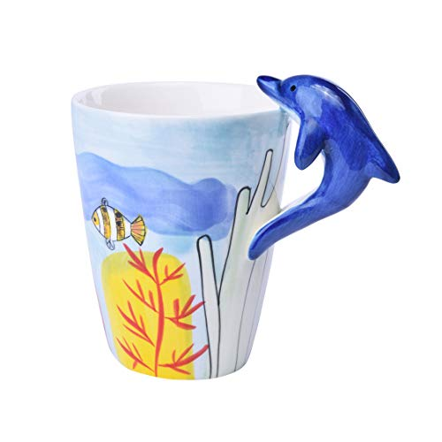 HapiLeap Taza de Café de Cerámica Animal Linda pPintada a Mano Pura de 3D Taza de Café (Delfín)