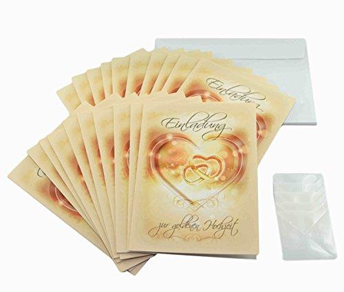 Goldhochzeit Einladungen im Set. 50 Jahre verheiratet und goldene Hochzeit feiern und dazu einladen mit 20 x Einladungskarten, 20 weiße Umschläge und je 20 Fotoecken (20 Stück, Einladungskarten)