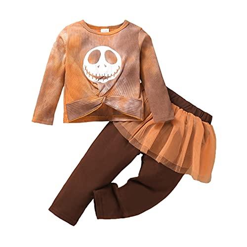 Alunsito Neonate Neonate Autunno Inverno Abiti Maglia a coste Tie Dye Top + Legging Pantaloni Gonne Set di vestiti di Halloween Marrone 18-24 mesi