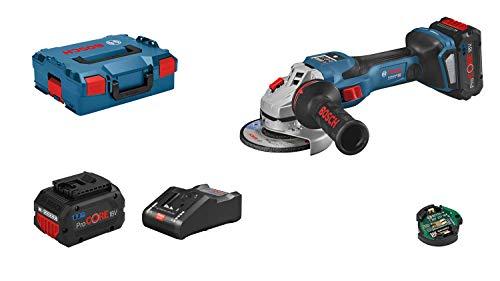 Bosch Professional BITURBO GWS 18V-15 SC - Amoladora angular a batería (18V, disco Ø 125, velocidad variable, Connectivity, 2 baterías 8.0 Ah ProCORE, en L-BOXX)